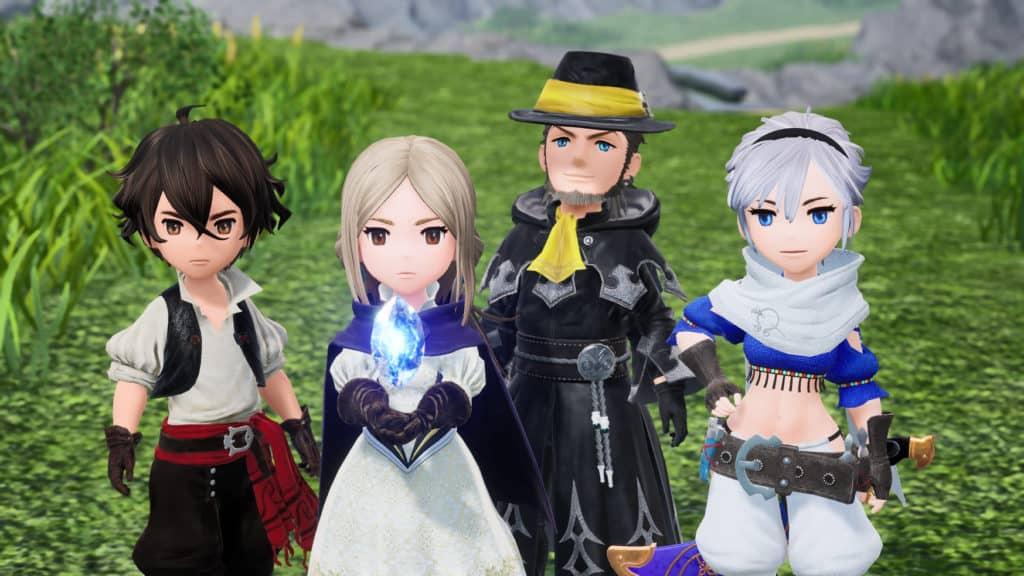I quattro protagonisti di Bravely Default II: Seth, Gloria, Elvis, Adelle
