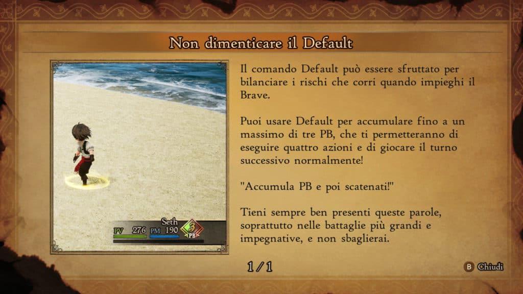 Schermata di spiegazione del Default