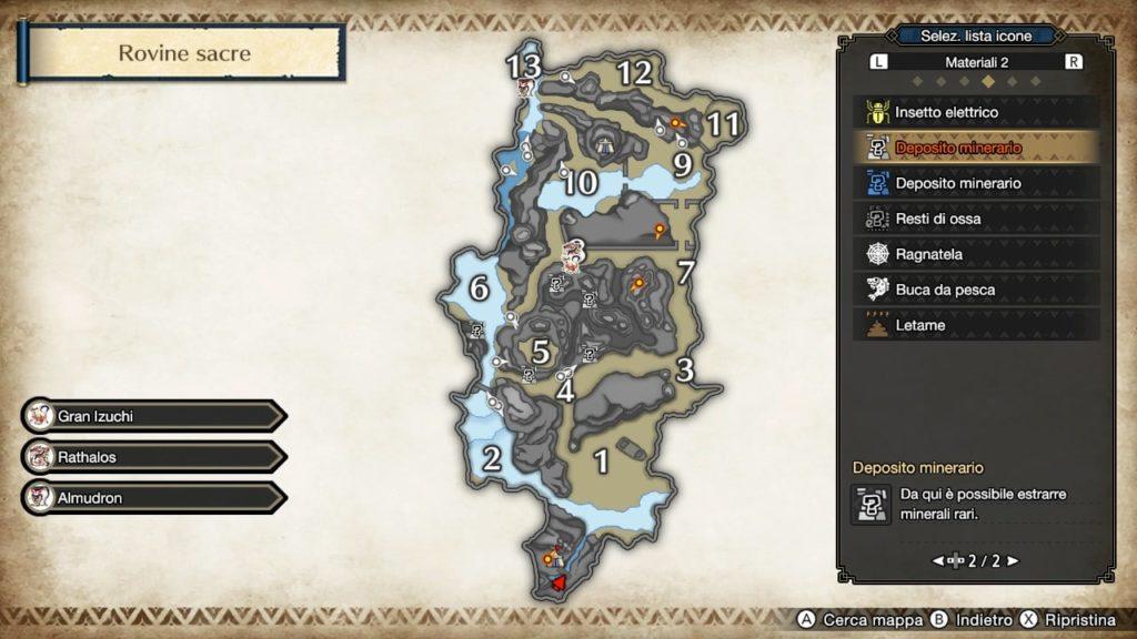 La mappa delle Rovine Sacre con i vari luoghi numerati