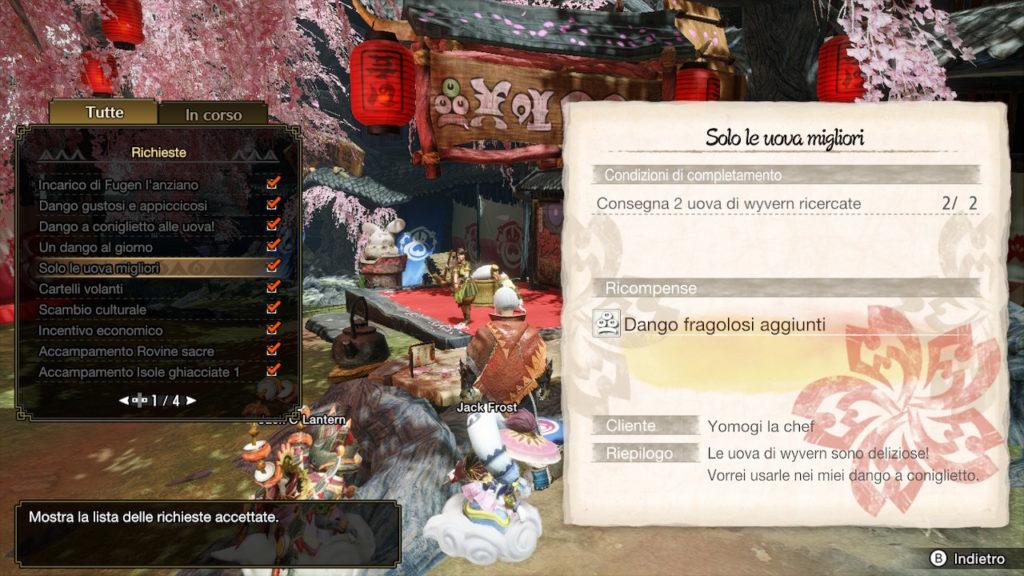 Esempio di richiesta su Monster Hunter Rise