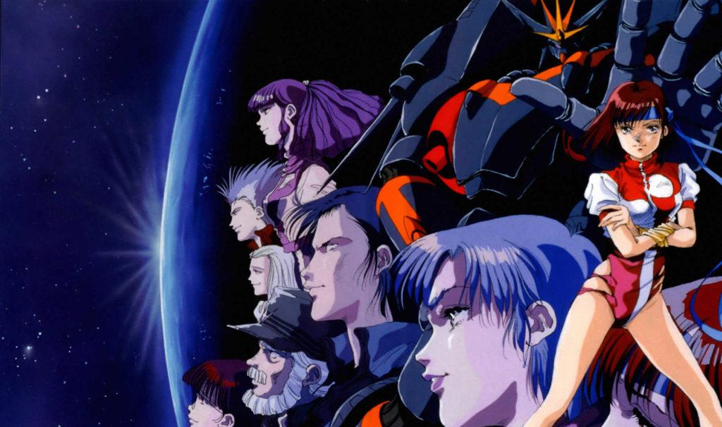 Noriko e il cast della serie con Gunbuster sullo sfondo