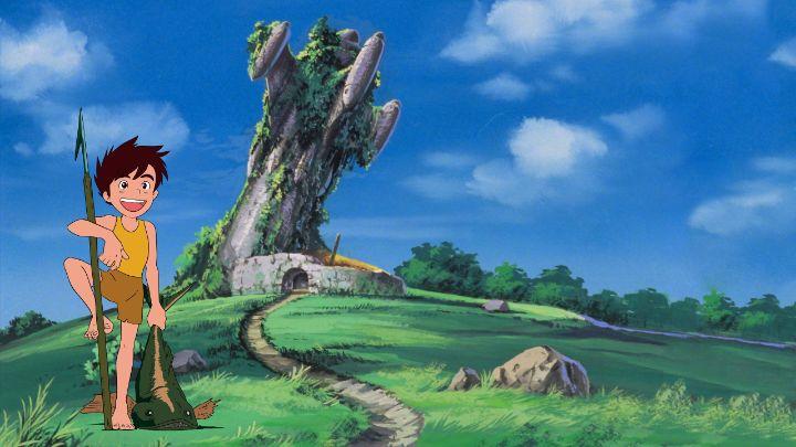 Conan in un campo verdeggiante