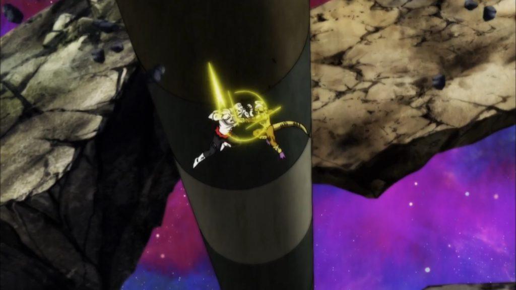 Jiren e Freezer si scontrano con rapidi colpi in un combattimento aereo