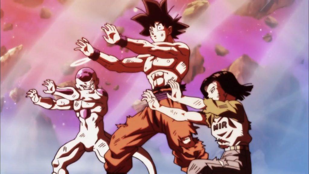 Goku, Freezer e C17 mantengono eretta la barriera durante l'attacco di Jiren