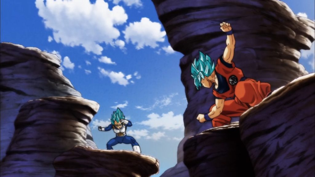 Goku e Vegeta si scontrano prendendo la stessa posa che fecero durante il loro primo scontro sulla terra