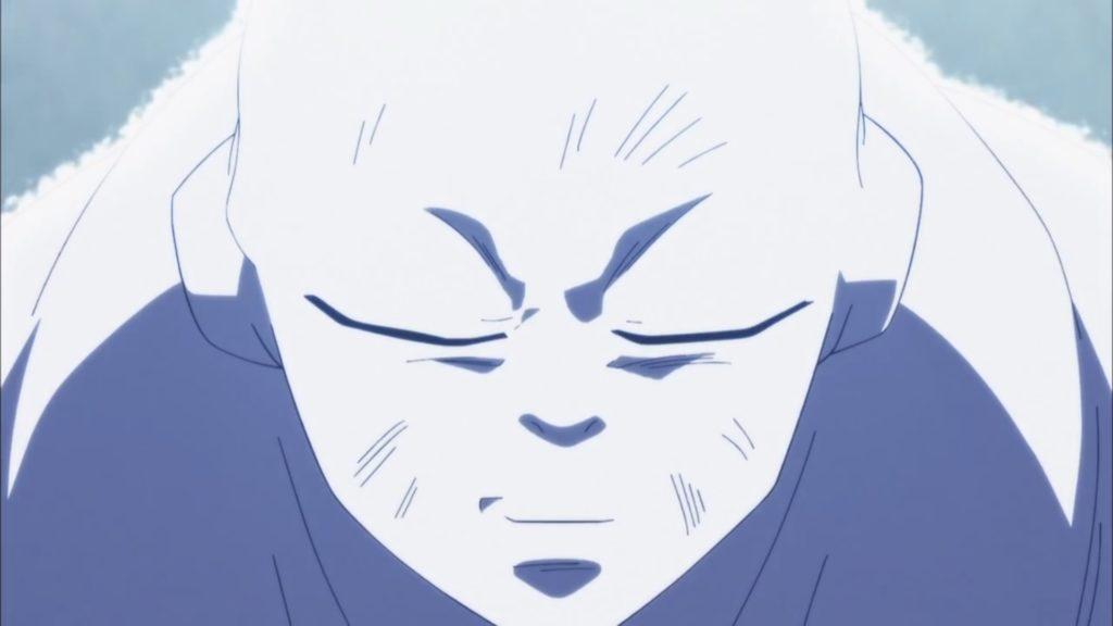 Un fiebile sorriso di Jiren prima di scomparire dopo aver accettato la sconfitta