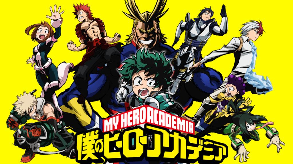 I vari personaggi protagonisti più l'eroe numero uno All-Might