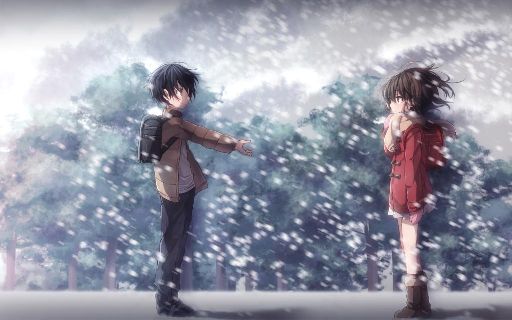 Satoru porge la mano ad una bambina in mezzo alla neve