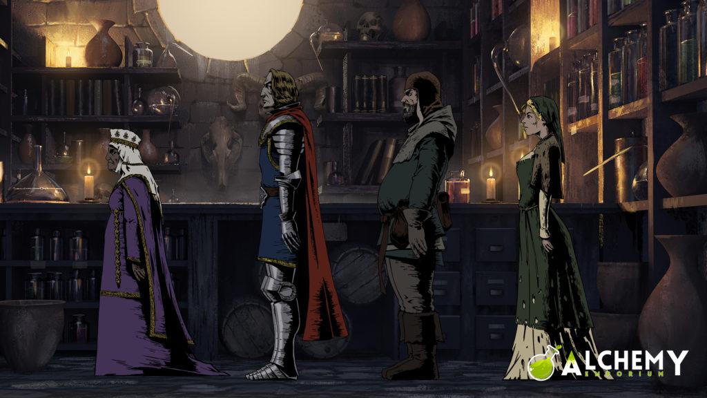 Gente in fila nella bottega di Alchemy Emporium