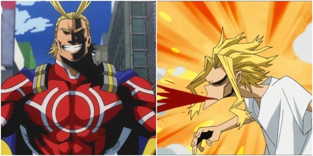 Le due forme di All Might. Hero form a sinistra e True form a destra