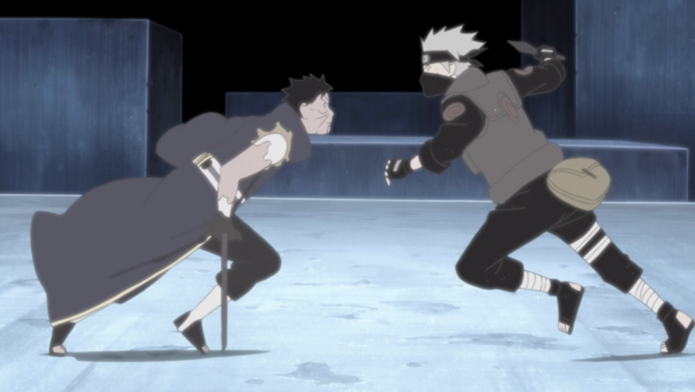 Obito e Kakashi mentre si attaccano