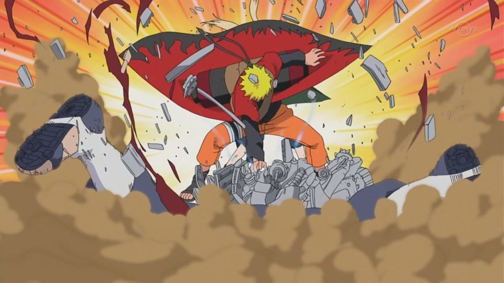 Naruto che sferra un colpo con un'esplosione di potenza