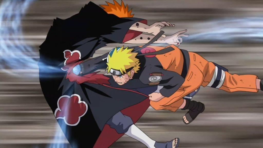 Naruto sferra un rasengan nello stomaco di Pain