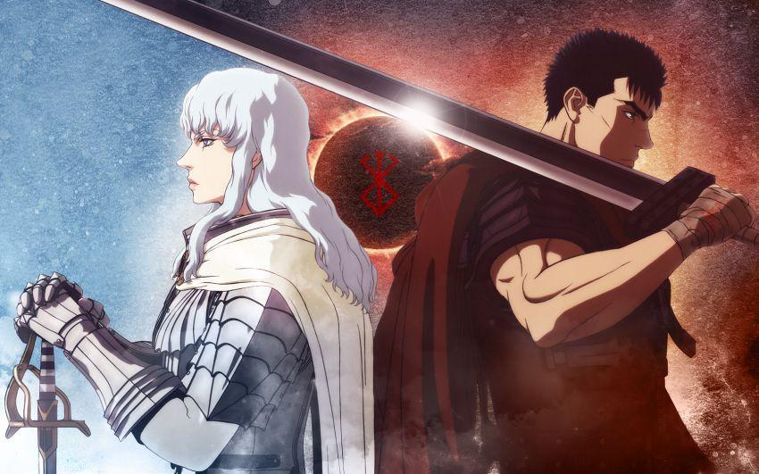 Grifis e Gatsu di spalle in una scena di scena di un adattamento animato