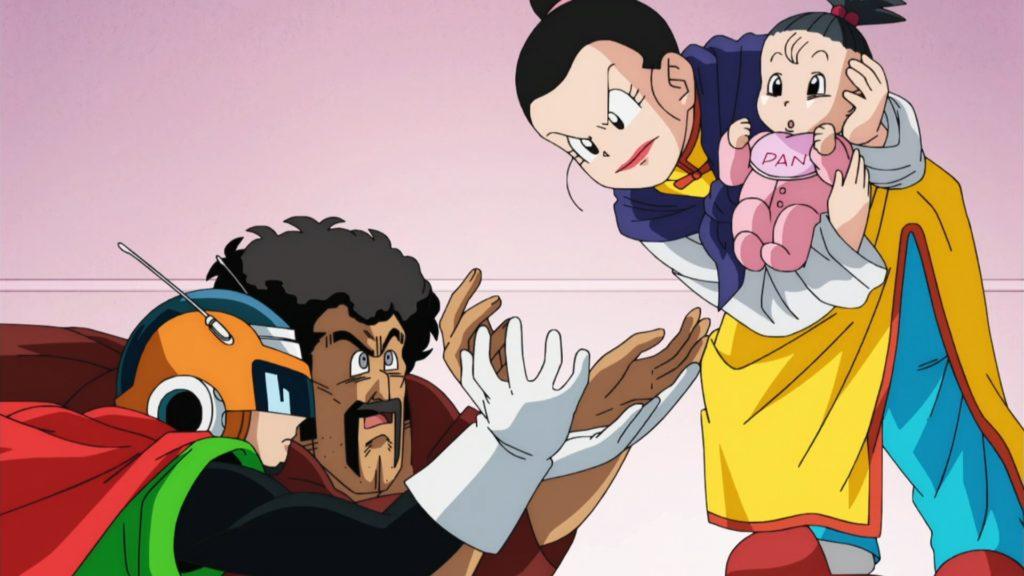 Mr Satan e Great Saiyaman stavano per raccogliere al volo Pan, prima che Chichi è riuscita a raccoglierla
