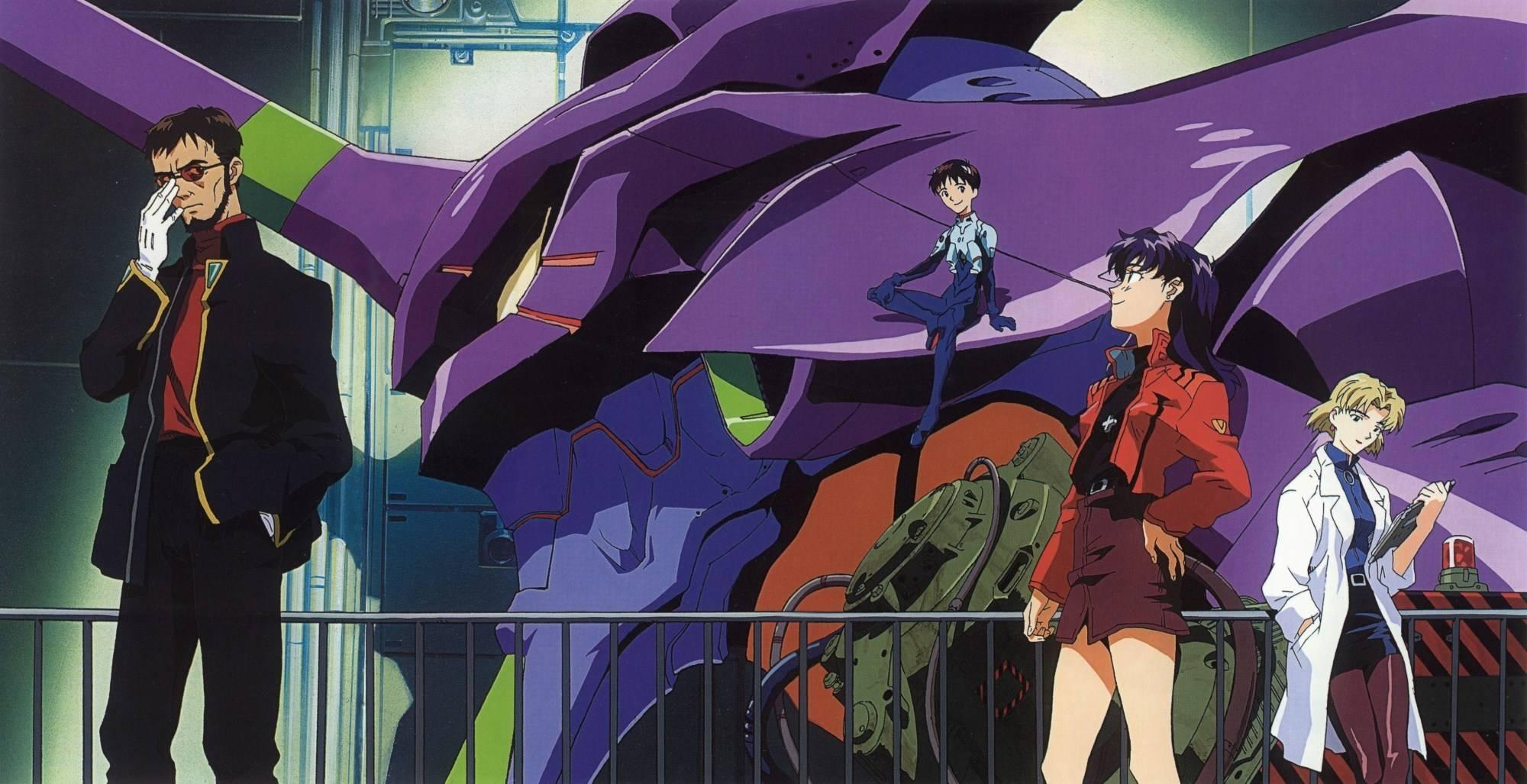 Shinji, Gendo, Misato e Ritsuko con l'Eva 01 in sfondo