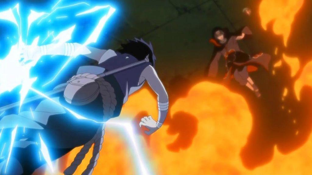 Sasuke e Itachi mentre si attaccano