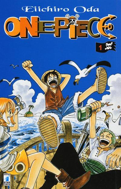 La copertina del primo tankobon di One Piece mostra Rufy, Nami e Zoro