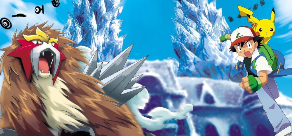 Ash ed il suo amico Pikachu affrontano il pokémon leggendario Entei