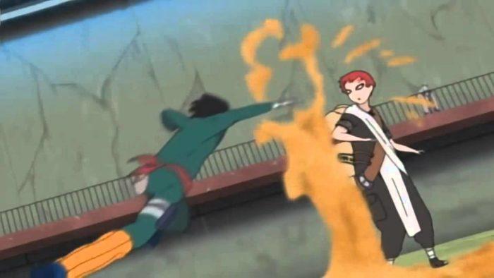 Rock Lee mentre sferra un pugno a Gaara