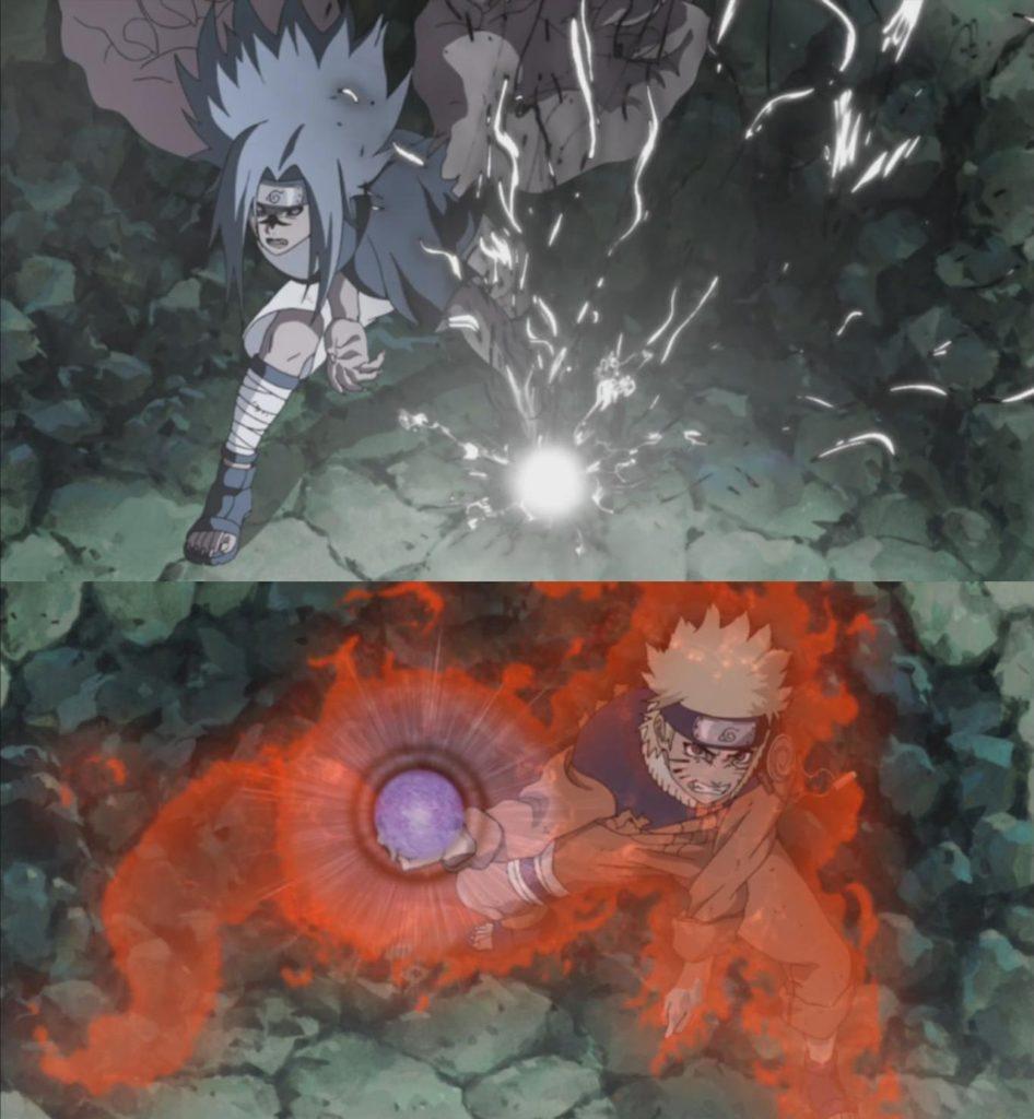 Naruto e Sasuke mentre combattono