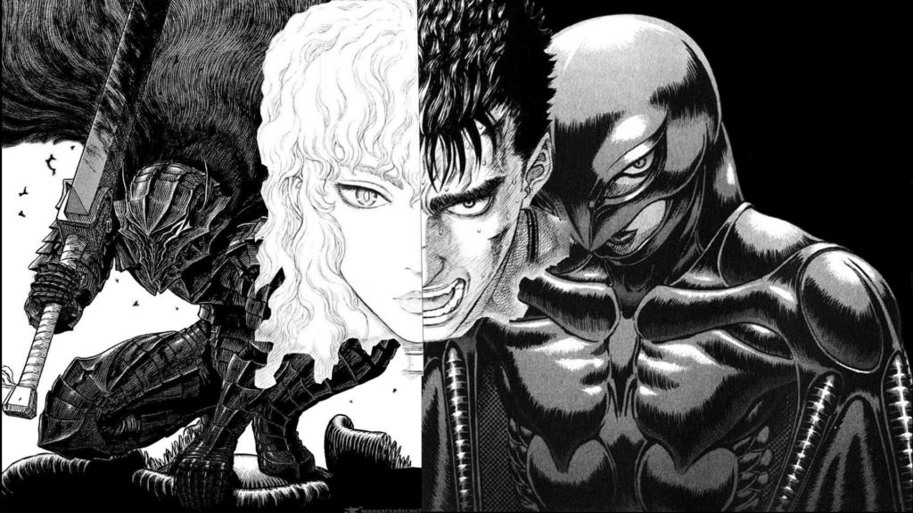 Grifis e Gatsu in una tavola del manga