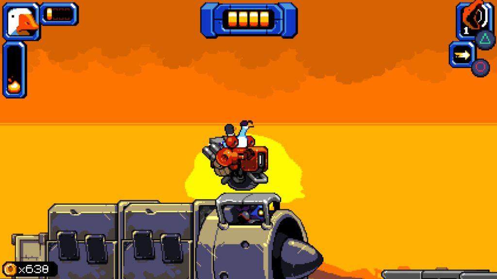 Mighty Goose su una moto con lo sfondo del sole in lontananza