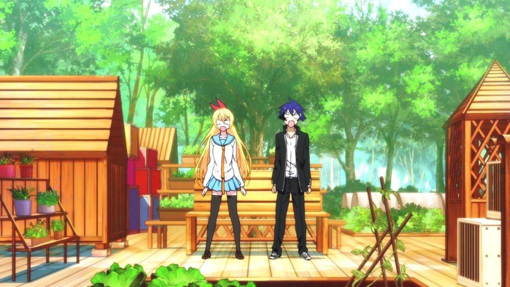 Raku e Chitoge in una scena dell'anime