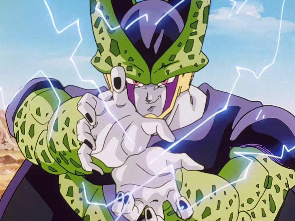 Super Perfect Cell sta caricando un'onda energetica.