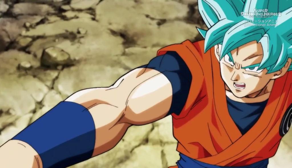 Goku Super Saiyan Blue in una scena dell'anime.