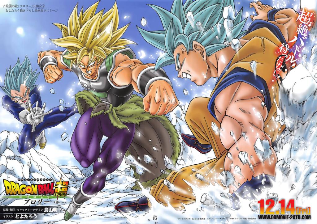 Illustrazione che mostra Vegeta e Goku combattere contro Broly.