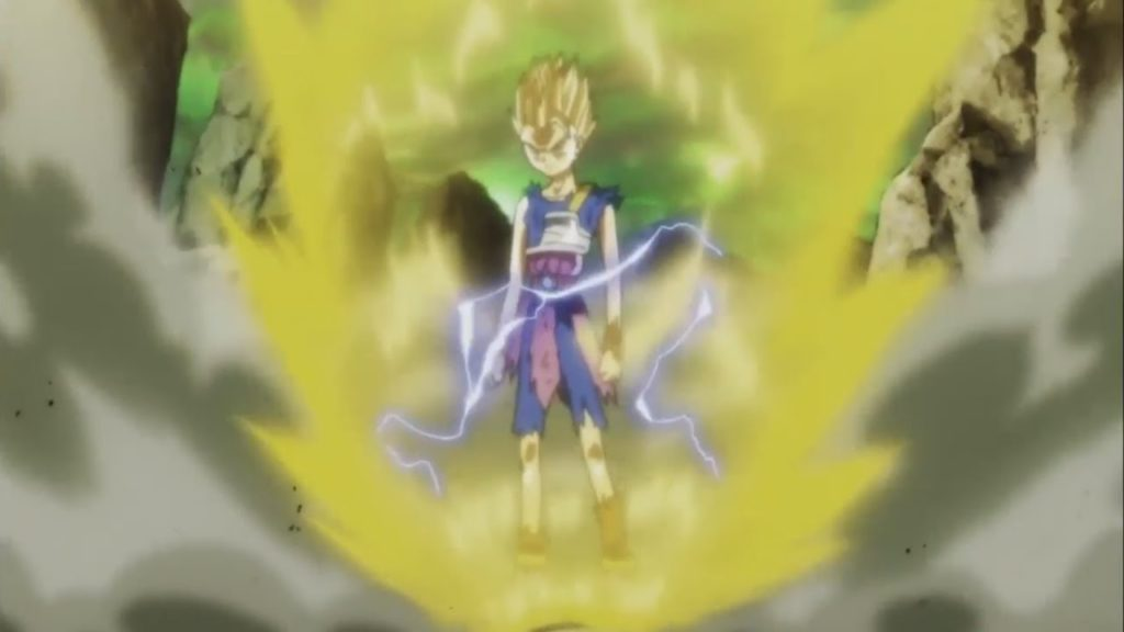 Cabba diventa Super Saiyan 2, circondato dalla sua aura e i detriti intorno a lui