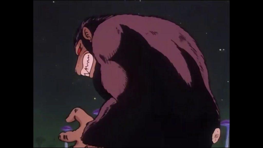 Goku Oozaru ha subito un taglio della coda da parte di Pual e sta ritornando alla forma base.