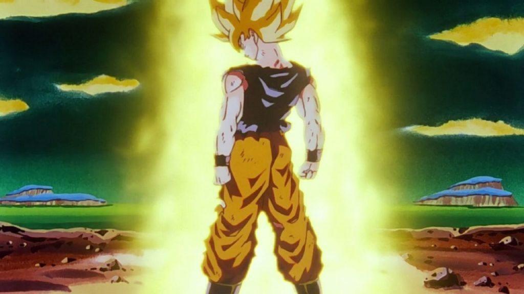 Goku trasformato in Super Saiyan è circondato da un'aura dorata
