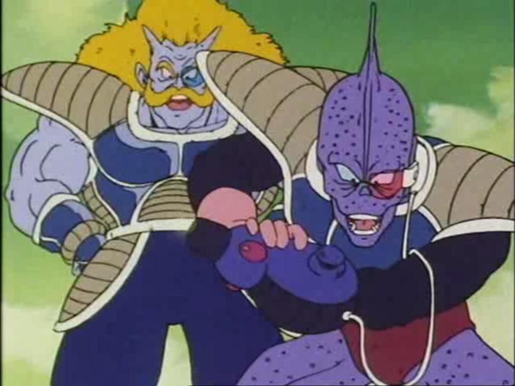 Due membri dell'armata di Freezer si scagliano contro Gohan, Bulma e Crilin quando atterrano a Namek. Uno dei due ha un cannone da braccio
