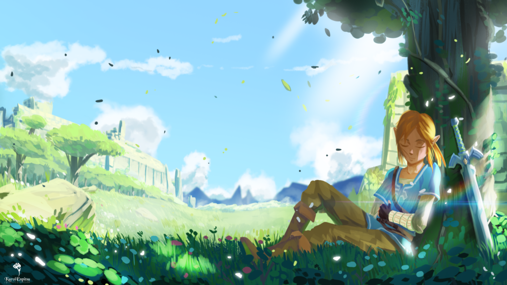 Link riposa sotto un albero con la spada suprema al suo fianco
