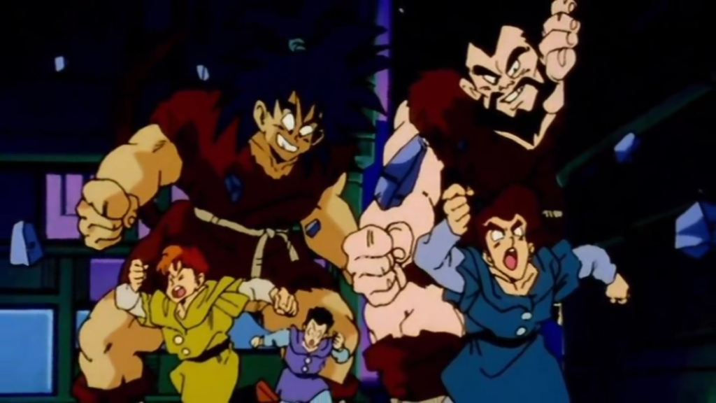 Due saiyan agguerriti inseguono un gruppo di Tsufuru inermi