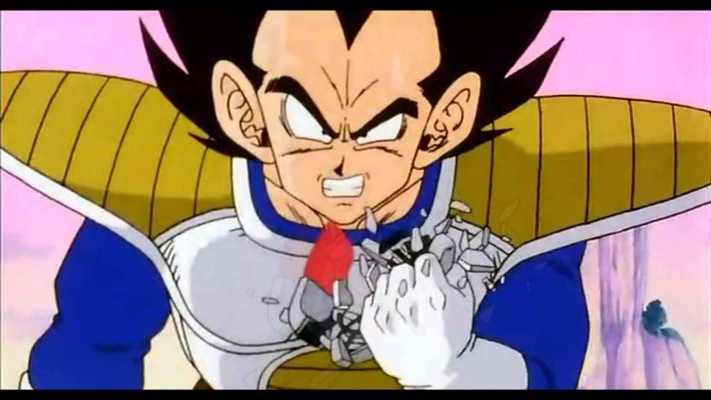Vegeta distrugge il suo scouter dopo aver letto la potenza combattiva di Goku