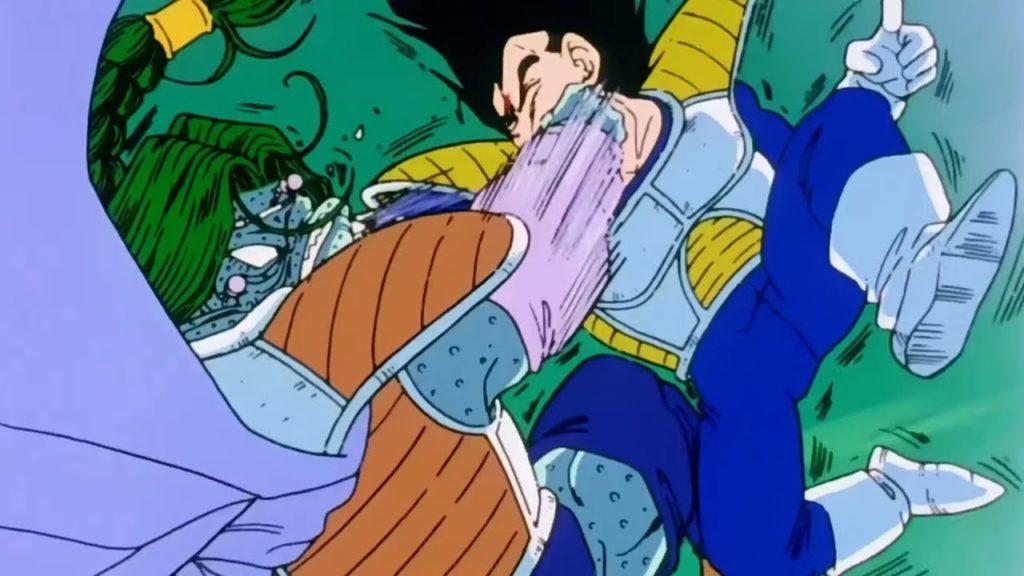 Zarbon Mostro e Vegeta si sferrano un pugno sul viso in contemporanea.