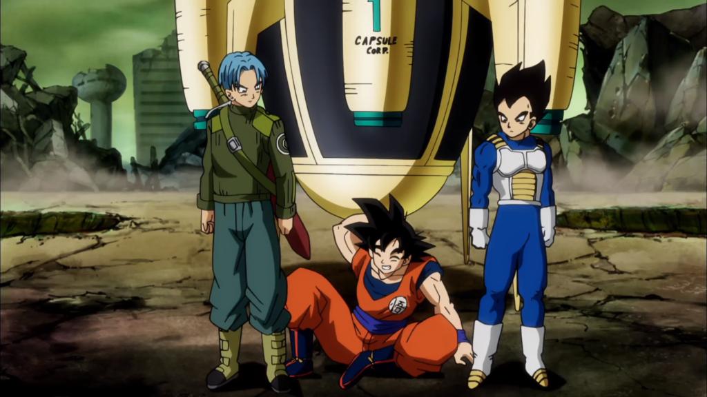 Goku, Vegeta e Trunks si preparano a combattere nel futuro.