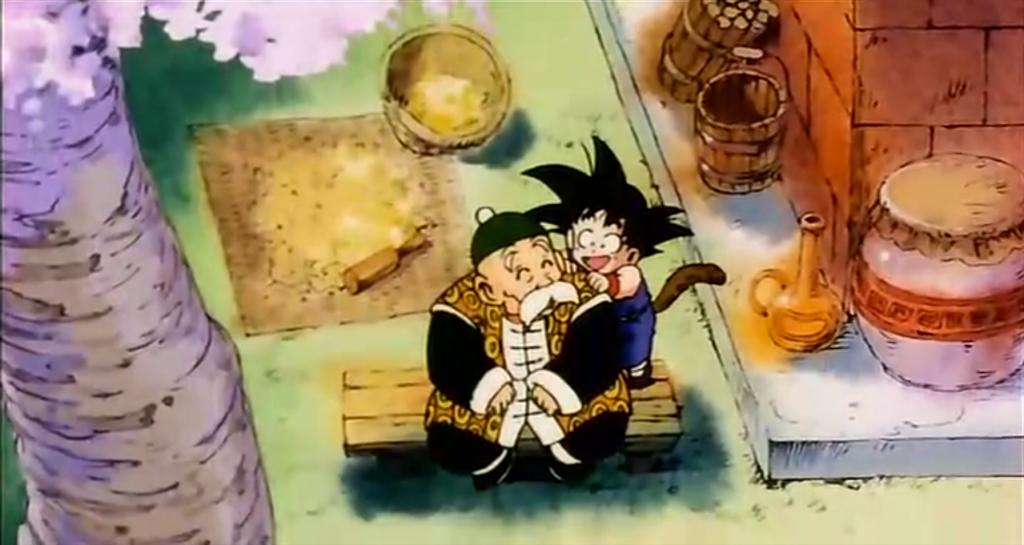 Goku e nonno Gohan.