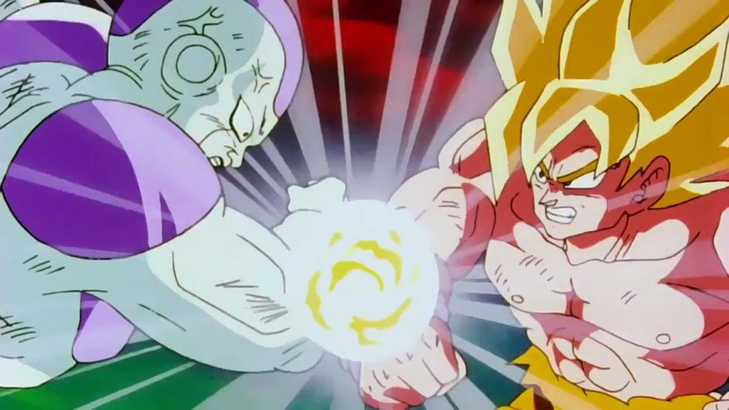 Goku Super Saiyan contro Freezer alla massima potenza.