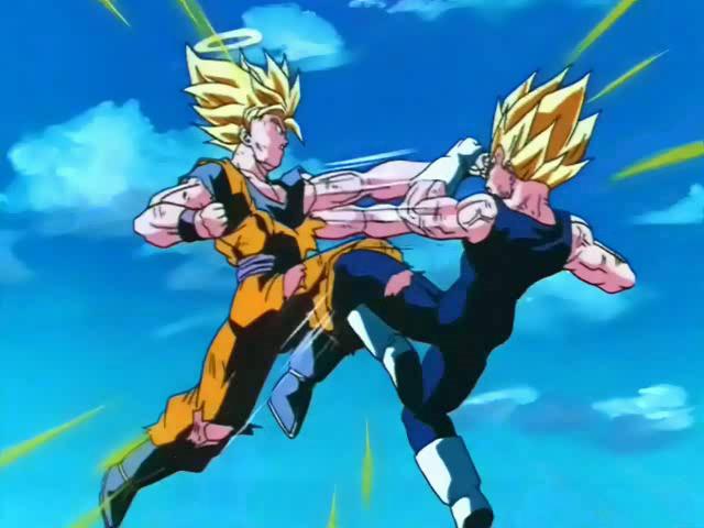 Goku combatte contro Majin Vegeta.