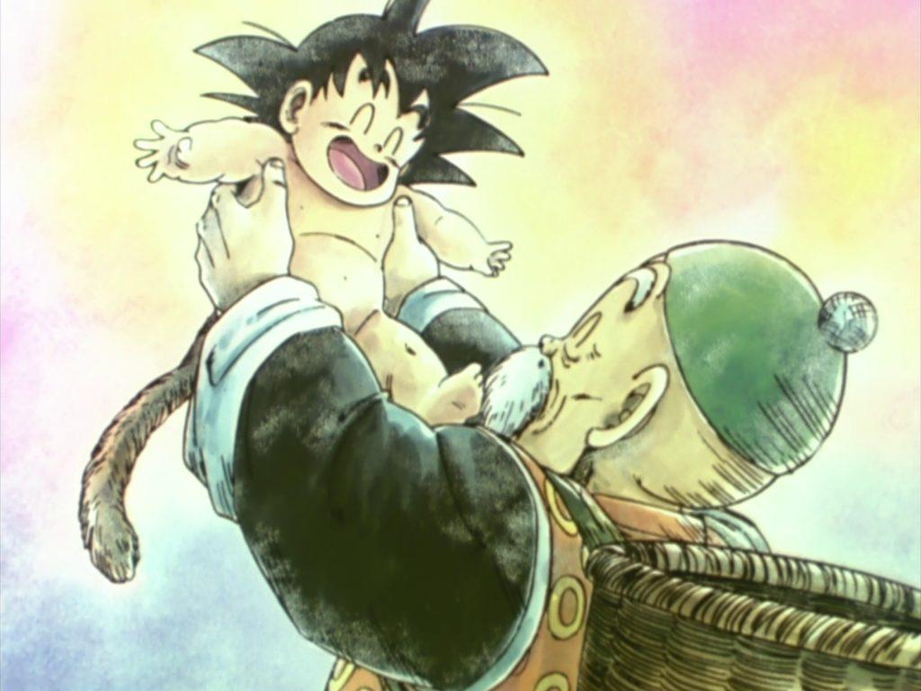 Nonno Gohan trova il piccolo Goku.