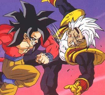 Goku Super Saiyan 4 colpisce duramente Baby.