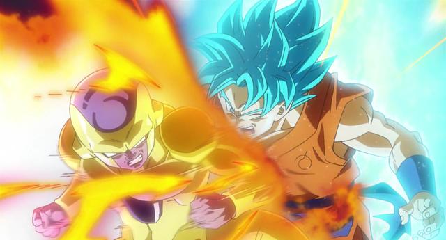 Golden Freezer contro Goku Super Saiyan Blue.