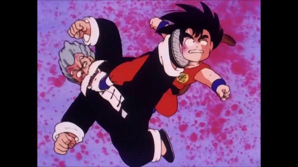 Goku e Muten si danno un calcio sul viso reciprocamente