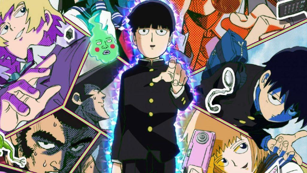 in primo piano il protagonista mob, mentre sullo sfondo sono riportati altri co-protagonisti