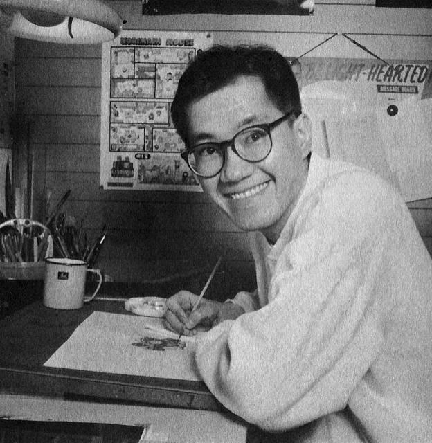 Il giovane Toriyama a lavoro.