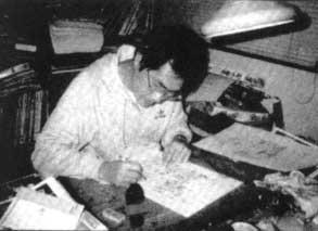 Toriyama a lavoro su Dr. Slump.